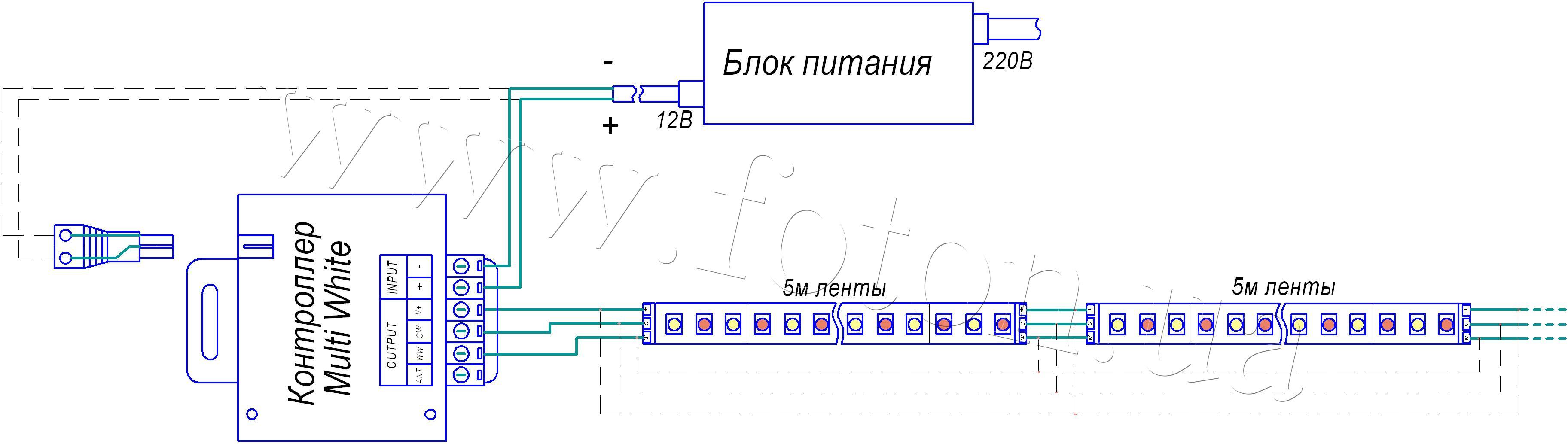 Схема включения светодиодной ленты от сети 220