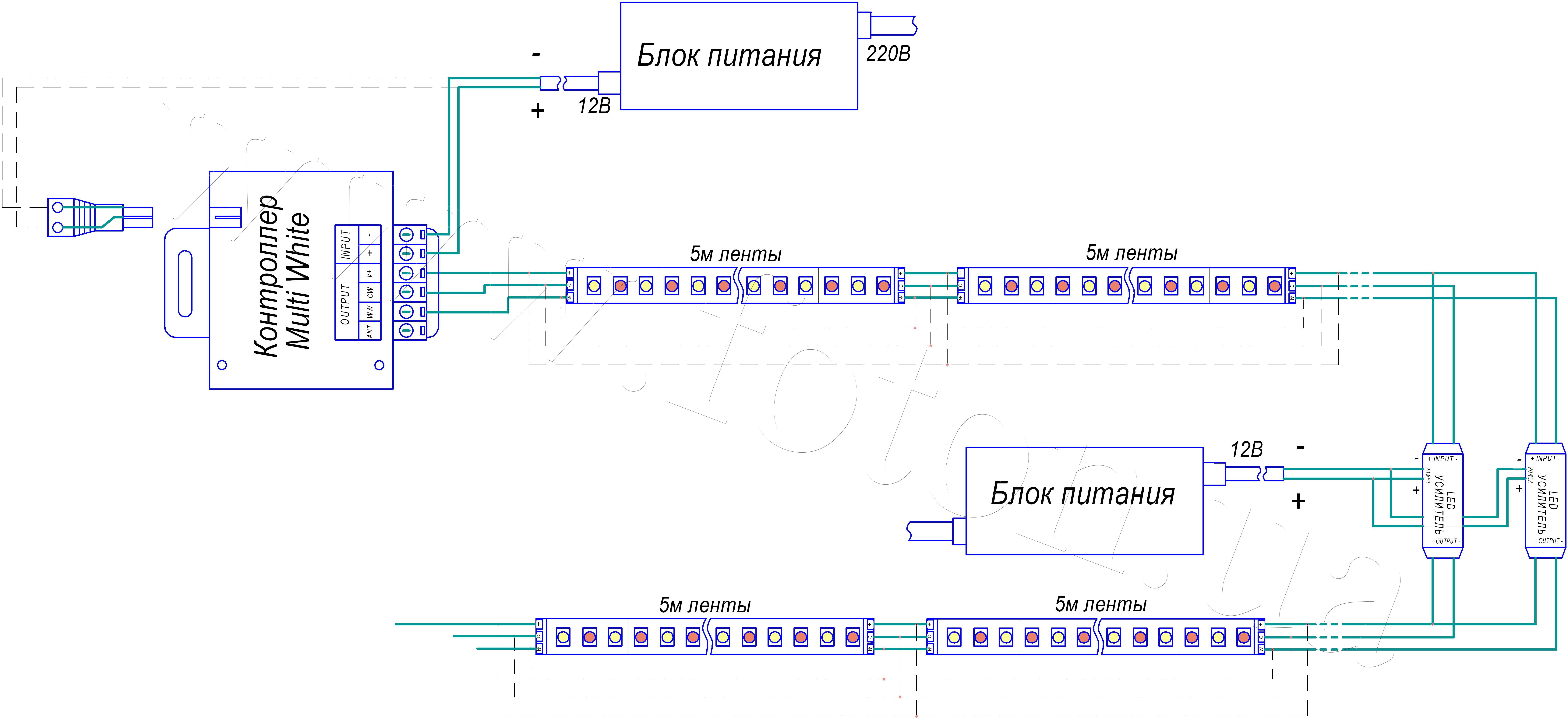 Схема подключения многоцветной rgb светодиодной ленты
