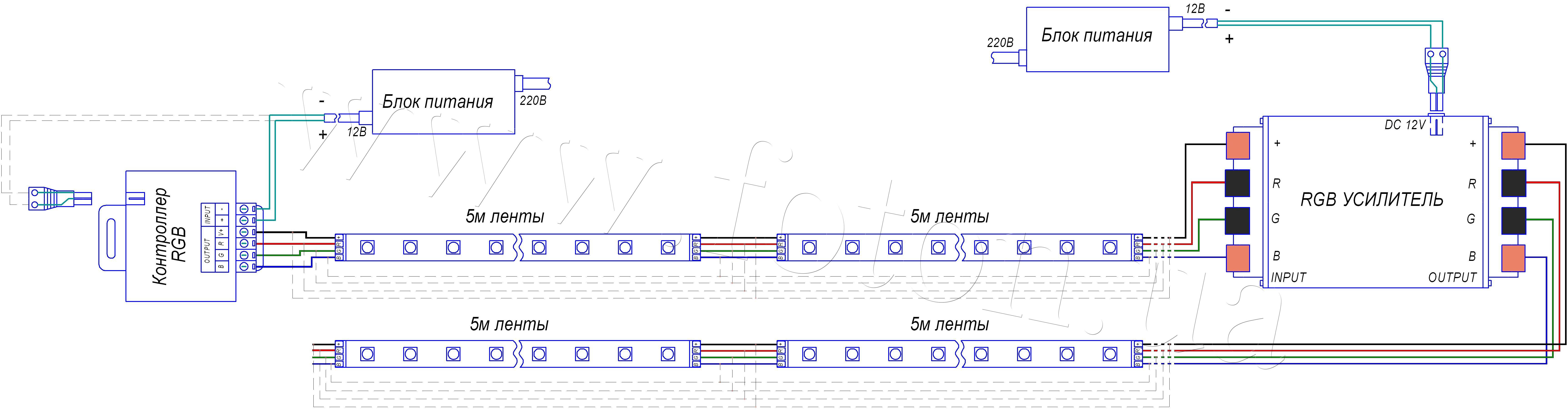 Rgb светодиодная лента схема подключения 15 метров